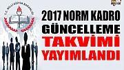 2017 NORM KADRO GÜNCELLEME DUYURUSU!